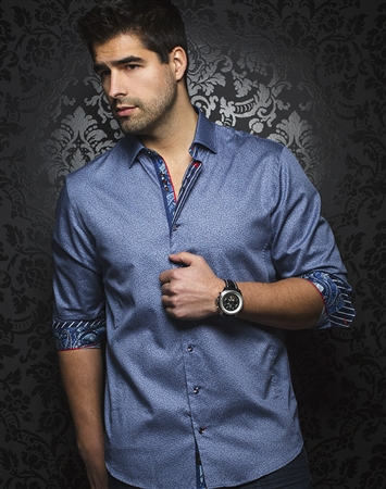 Fashionable Navy Dress Shirt