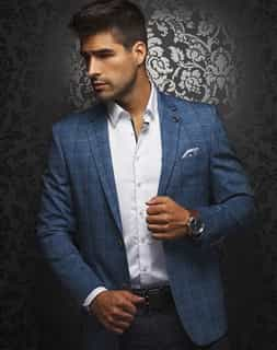 Shop Men: Men's  Luxury Blue Check Sport Coat