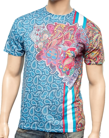 Luxury T-Shirt: Next level Couture Luxury Blue Paisley T- Shirt