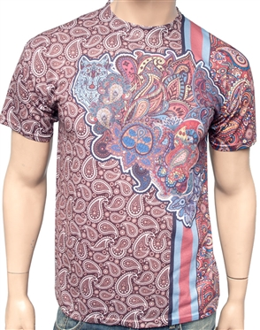 Luxury T-Shirt: Next level Couture Luxury Brown Paisley T- Shirt