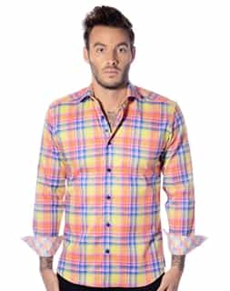 Yellow Plaid: Men Plaid Shirt | Sport Shirt