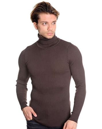 Designer Turtleneck Sweater - Brown
