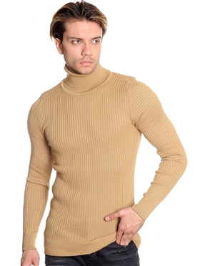 European Fashion Turtleneck Sweater - Dark Beige