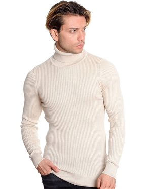 European Fashion Turtleneck Sweater - Light Beige