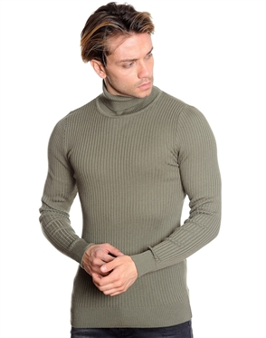 Luxury Fashion Turtleneck Sweater - Olive