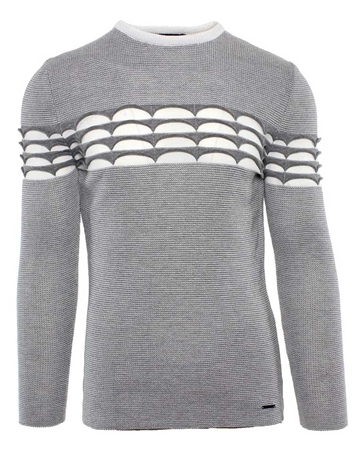 White and Gray Designer Knit Shirt