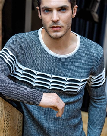 Black and Gray Designer Knit Shirt