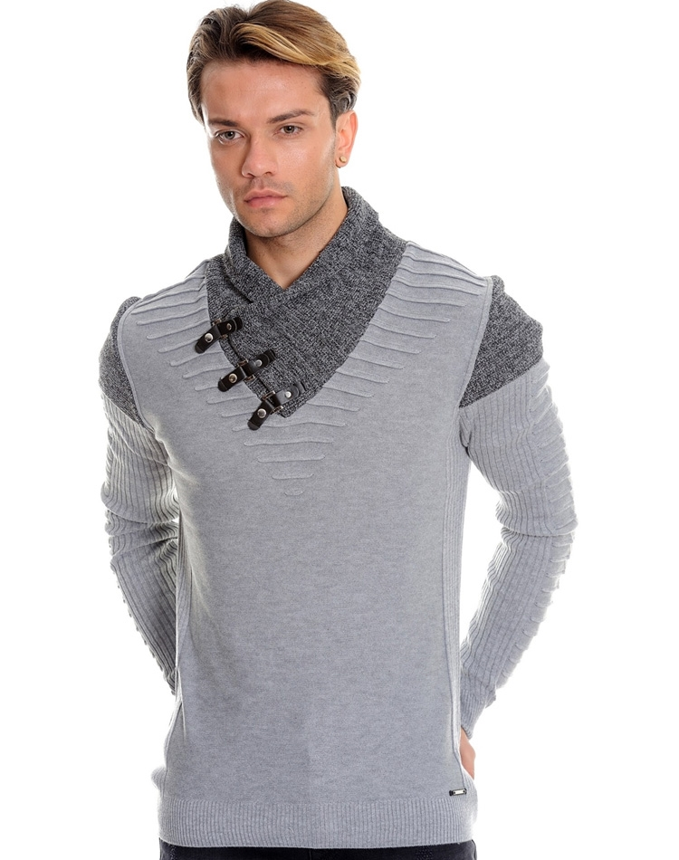 96ec5a24bf9 Fashionable Grey and Black Knit Shirt