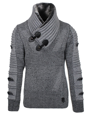 Sporty Grey Sweater with Fur Collar
