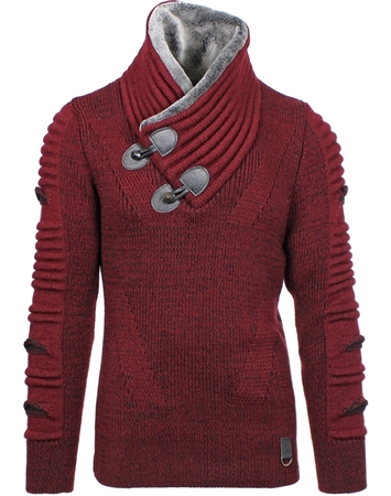 Sporty Burgundy Sweater with Fur Collar