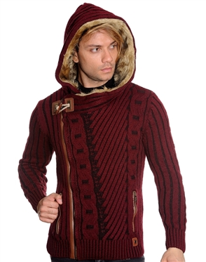 Fashionable European Burgundy Sweater