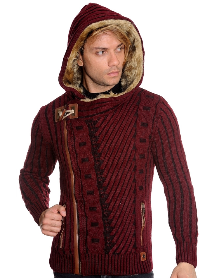 Indagine Taxi fibra  Dapper European Fashion Sweater - Burgundy Cardigan Sweater | LCR Menswear
