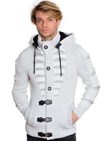 Grey and White Designer Men's Sweater