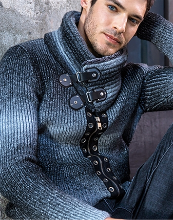 Fashion-Forward Grey and Black Sweater