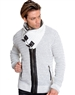 Luxe Designer White Grey Cardigan Sweater