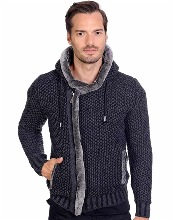 Black Men's Knit Cardigan Sweater
