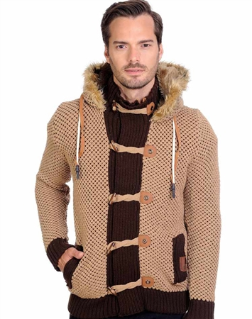 Brown Men's Knit Cardigan Sweater
