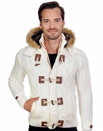 White Men's knit Cardigan sweater