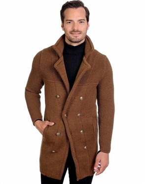 Camel Men's knit Cardigan sweater