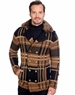 Camel And Black Men's knit Cardigan sweater