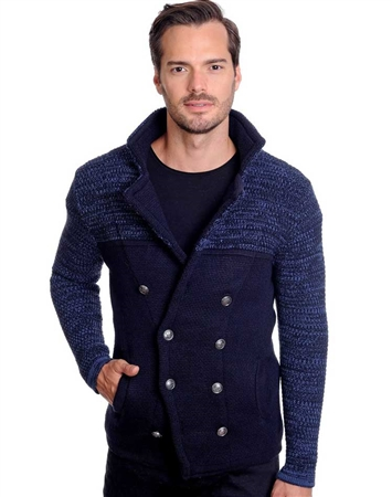 Navy and Blue Men's knit sweater