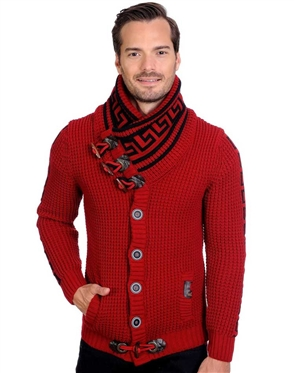 Red And Black Men's knit sweater