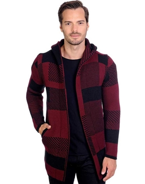 Black And Burgundy Men's knit Hood sweater