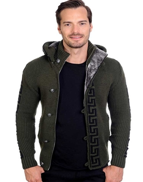 Olive And Black Men's knit Cardigan sweater