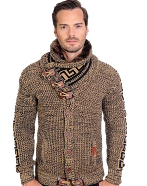 Brown And Black Men's knit Cardigan sweater