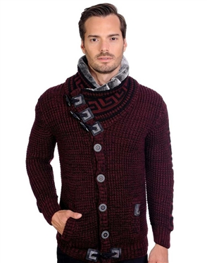 Burgundy And Black Men's knit Cardigan sweater