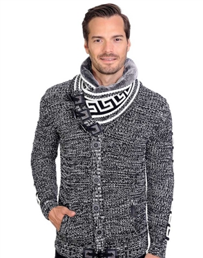 Grey And White Men's knit Cardigan sweater