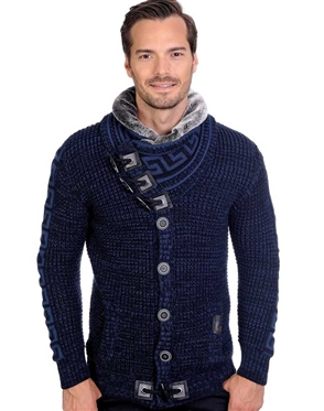 Navy And Black Men's knit Cardigan sweater
