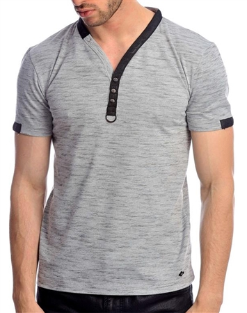 Shop Men's Designer Shirts - Gray Fashion Henley
