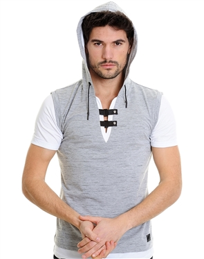 LCR  T-Shirt |  Designer Hooded Grey T-Shirt 4330