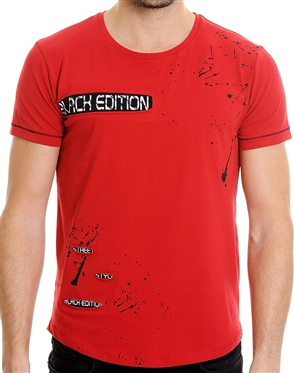 LCR Black Collection Red Fashion T-Shirt | Paint Splatter Designer T-Shirt