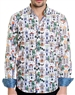 White Floral Pattern Shirt - Men Casual Shirt