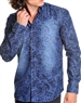 Sporty Navy Paisley Dress Shirt