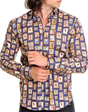 Navy Gold Portrait Dress Shirt