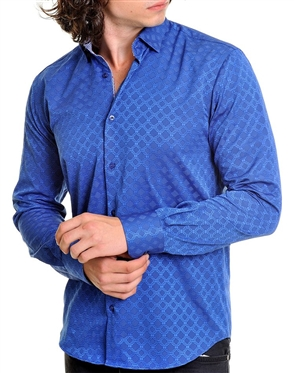 Sporty Royal blue Jacquard Woven