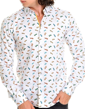 White Multicolored Car Print Dress Shirt