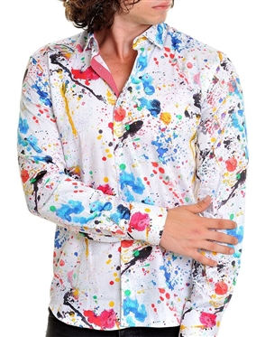White Paint Splatter Print Dress Shirt