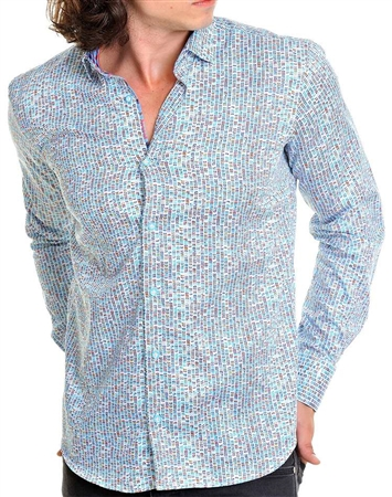 Aqua Blue Designer Men's dress Shirt