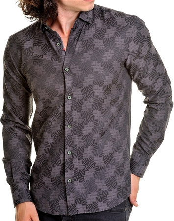 Black luxury shirt with Geometric Print