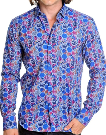 Geometrical multi mens dress shirt