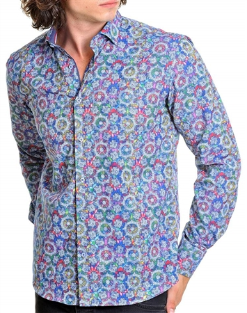 Floral multi-colored mend dress shirt
