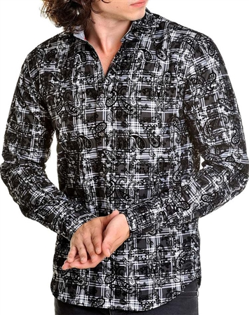 Black paisley luxury dress shirt