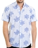 Blue Floral Pattern Shirt - Luxury Short Sleeve Woven