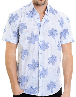 Floral Pattern Blue Shirt - Men Casual Shirt