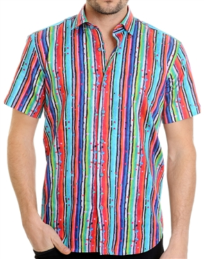 Sporty Shadow Stripe Pattern Shirt - Men Casual Shirt