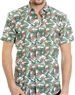 White Green Leaf Print Shirt - Designer Short Sleeve Woven